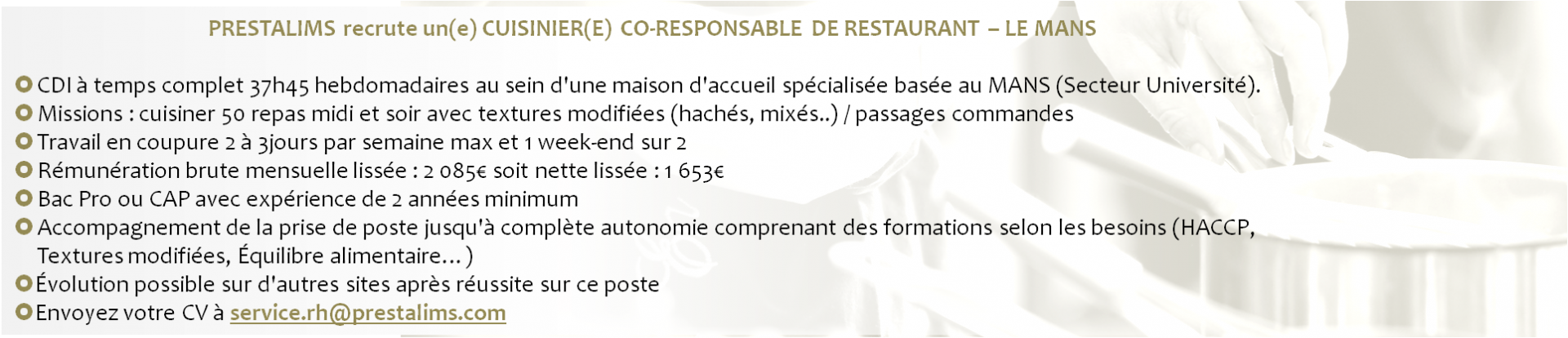 PRESTALIM'S RECRUTE CUISINIER CO-RESPONSABLE DE RESTAURANT